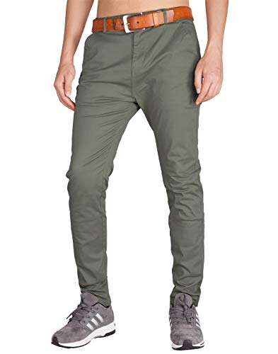 ITALY MORN Men's Chino Pants Slim Fit (30, Grey Green) ()