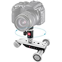 Mini Motorized Slider Track Dolly, Kamisafe PPL-06S Mobile Tabletop Slider Car Skater Pulley Rolling 3-Wheel Video Track Rail with Swivel Ball Head for DSLR Camera Camcorder iPhone Cellphones