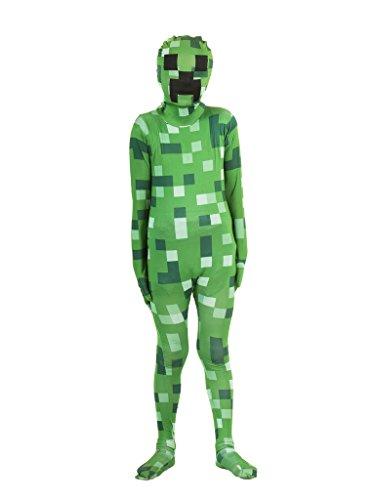 Pixelated Green Monster Morphsuit Costume (Kids L)