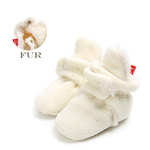 - Baby Boys Girls Fleece Booties Non-Slip Bottom Winter Socks Shoes Unisex Pram Soft Sole First Birthday Gift
