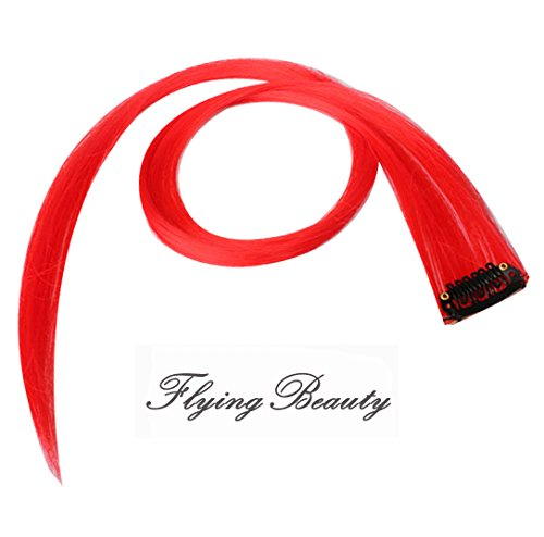 Straight Red Clip in Human Hair Extension Remy Human Hair Red Clip on Highlights 5 Pieces/set 18 Inch Color Red