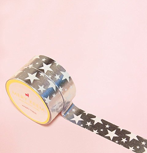 Rock Stars in Silver Foil Washi Tape for Planning • Scrapbooking • Arts Crafts • Office • Party Supplies • Gift Wrapping • Colorful Decorative • Masking Tapes • DIY from MERYKEEM