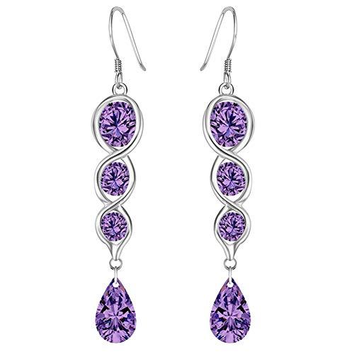 Fashion Earrings, gLoaSublim Fashion Women Twist Teardrop Cubic Zirconia Charm Hook Earrings Jewelry Gift - Purple