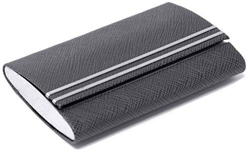 Slim Genuine Saffiano Black with Metal Stripes