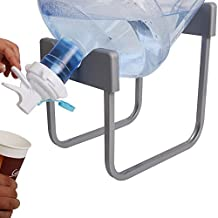 3-5 Gallon Water Jug Stand with 2pcs White Dispenser Valve and 1pc Dustproof Plug, Non Slip Water Stand with Food Grade Fast Flow Water Spout for 55MM Non Threaded Crown Top Water Jugs, Grey