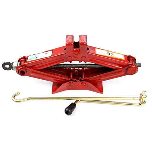Okeler 1 Ton Scissor Jack for RV Car Motorcycle Lifting Home Emergency, Red by Okeler