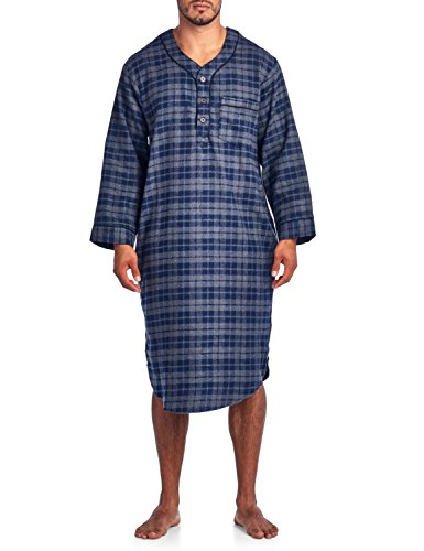 Ashford & Brooks Mens Flannel Plaid Long Sleep Shirt Henley Nightshirt - Charcoal Blue - Small