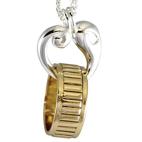 Reunion Heart Memorial Women's Silver-Plated Ring Band Holder 24 Inch Chain Pendant Necklace ()