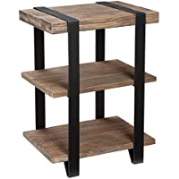 Living Room Furniture/ Accent Table Contemporary, Modesto Reclaimed Wood With Metal Straps 3-shelf End Table - Assembly Required AMSA0220. 20 W x 15 D x 27 H