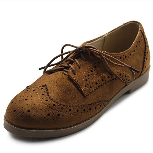Ollio Women's Flat Shoe Wingtip Lace Up Faux Nubuck Oxford M2920 (9 B(M) US, Brown)