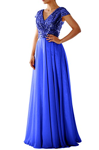 MACloth Cap Sleeve V Neck Sequin Chiffon Bridesmaid Dress Formal Evening Gown Azul Real