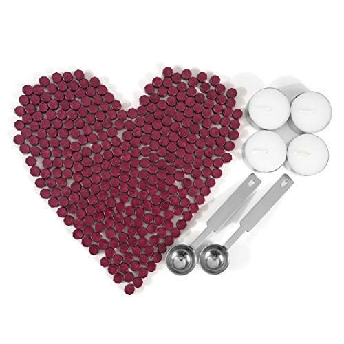 Mornajina Sealing Wax Beads, 300 Pieces Octagon Wax Seal Beads Kit with 2 Melting Spoon and 4 Pieces Candles for Wax Seal Stamp (Red) (300 Beads)