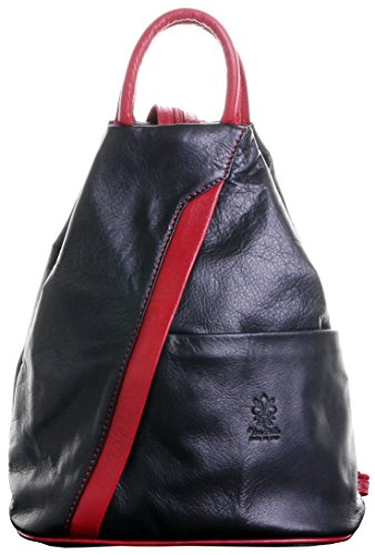 Italian Soft Napa Black & Red Leather Top Handle Shoulder Bag Rucksack Backpack. Includes Branded Protective Storage Bag