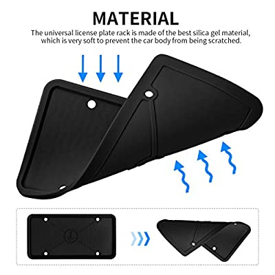 ZAKAA 2 Pack License Plate Frame,Premium Silicone Material, Rust-Proof,Rattle-Proof,Weather-Proof(Black): Automotive