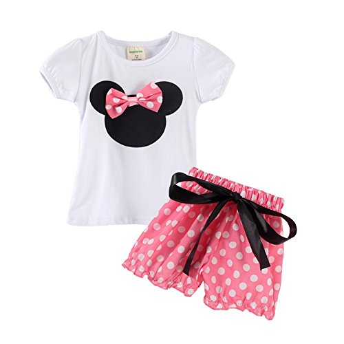 Mud Kingdom Toddler Girl's Polka Dot Cartoon T-shirt and Shorts Outfits 24M Pink Shorts (Minnie Outfit)
