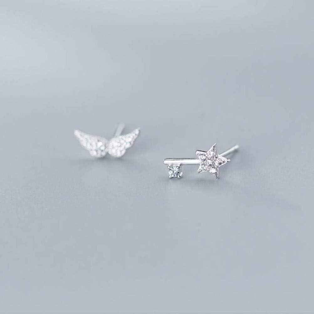 S&RL S925 Pendientes de Plata de Las Mujeres Coreanas de Moda Alas de Ángel Pendientes de Estrella de Diamantes Joyería Joyería Clave Asimétricaun par, Plata 925