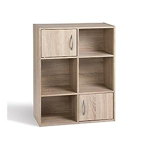 Alsapan Compo Meuble de Rangement 4 Casiers + 2 Portes Bibliothèque Etagères Cubes Chêne 80 x 61.5 x29.5 cm