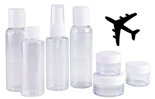 Clear Plastic Travel Size  Cosmetic Bottles - TSA / Airline Approved
