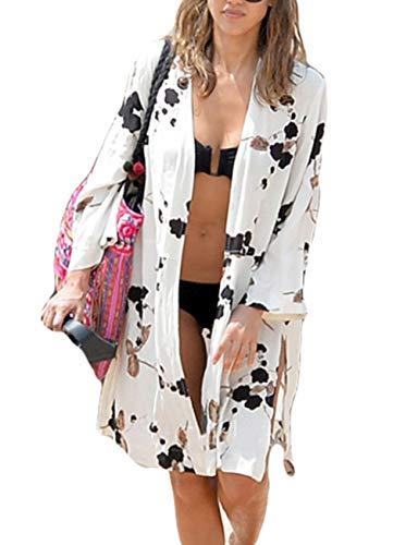 Bsubseach Women Black White Floral Print Rayon Beachwear Cover Up for Swimwear Loose Long Sleeve Beach Kimono Cardigan