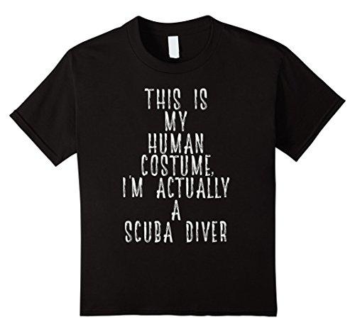 Easy Scuba Diver Costume (Kids My Human Costume - Scuba Diver Deep Sea Diving Gift Shirt 8 Black)