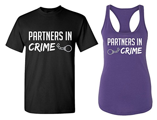 Partners in Crime Matching Couple T Shirts - His and Hers Racerback Tank Tops