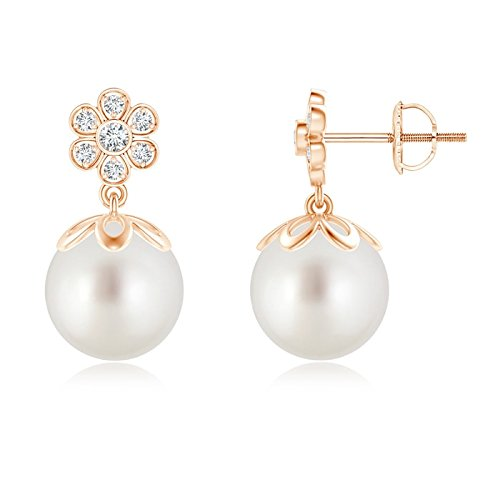 - South Sea Cultured Pearl and Diamond Floral Drop Earrings in 14K Rose Gold (9mm South Sea Cultured Pearl)