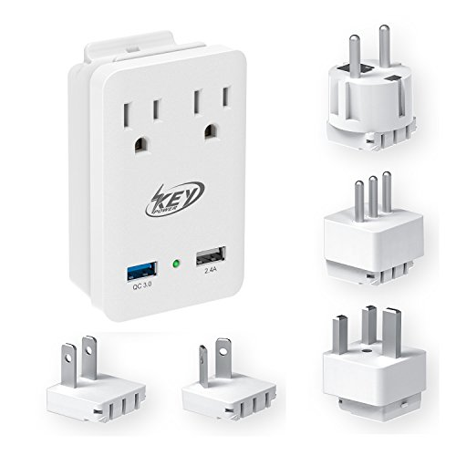 Key Power 2000W International Travel Adapter Kit, Quick Charge 3.0 USB & Two AC Outlets for US to Europe, Ireland, Russia, France, UK, Australia, New Zealand, Italy and ()