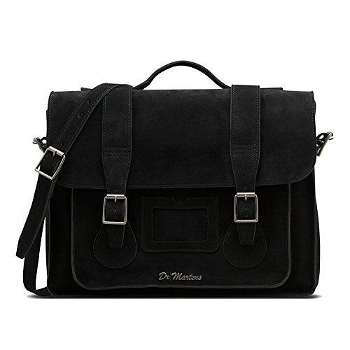Dr. Martens Unisex 15'' Suede Leather Satchel, Black, (Suede Satchel Bag)