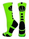 MadSportsStuff Basketball Logo Athletic Crew Socks, Medium - Neon Green/Black