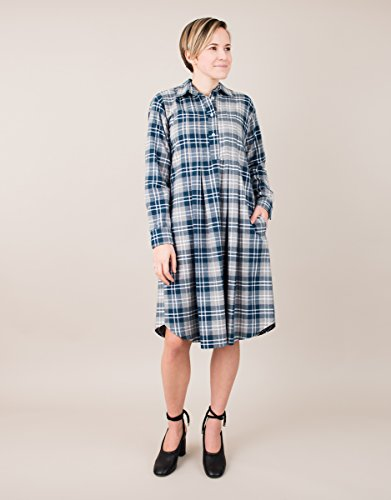 Long Sleeve Blue Gray Flannel Plaid Shirt Dress by BAUH designs