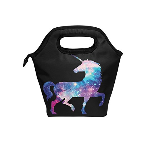 ShineSnow Magic Unicorn Galaxy Star Boys Girls Insulated Lunch Bag Tote Handbag, Cartoon Animal Horse lunchbox Food Container Gourmet Tote Cooler warm Pouch For School work Office by ShineSnow