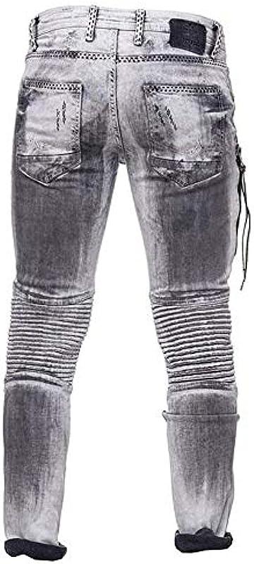 BLZJeans Slim Jeans grau gewaschen und gestreift Effekt für Männer FR 40 US 32: Odzież