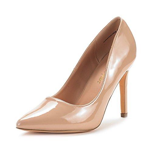 DREAM PAIRS Women's Christian-New Nude Pat High Heel Pump Shoes - 5.5 M US