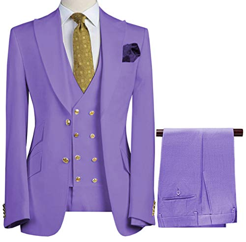 Vincent Bridal Men's 3 Pieces Suits 3 Pieces Double-Breasted Solid Prom Tuxedo Wedding Grooms(Blazer+Vest+Pants)(38R, Lavender-02) (Wedding 3 Piece Suits For Groom In India)