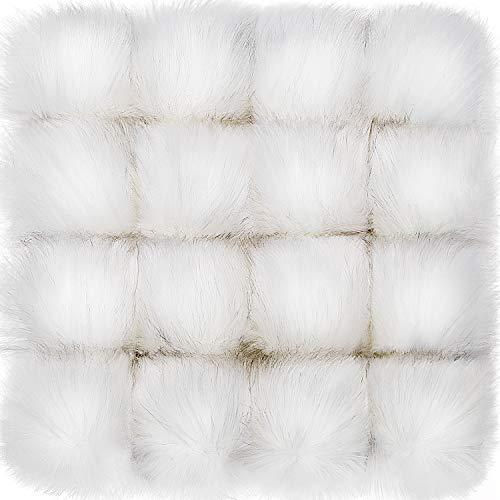 Tatuo Faux Fur Pom Pom Ball DIY Fur Pom Poms for Hats Shoes Scarves Bag Pompoms Keychain Charms Knitting Hat Accessories (White, 16)
