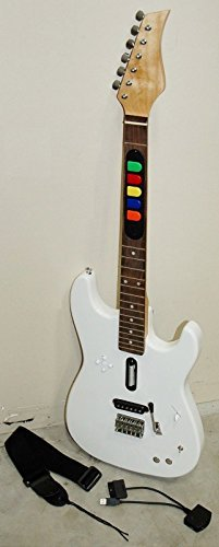 PS3/PS2 Guitar Hero Video Game Full Size Wireless WHITE Controller REAL WOOD