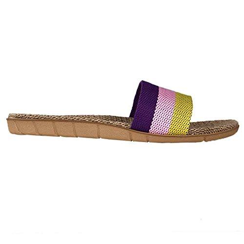 Oriskey Unisex Damen Herren Leinen Stripes Flache Hausschuhe Skidproof Haus Indoor Pantoffeln Sommer Lila + Rosa + Gelb