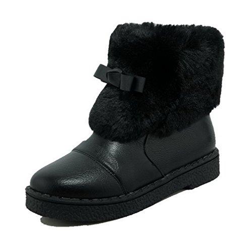 AmoonyFashion Womens Low-Top Zipper Soft Material Low-Heels Round Closed Toe Boots Black JmqFXWq