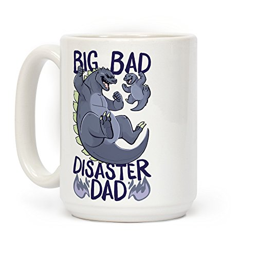 (LookHUMAN Big Bad Disaster Dad Godzilla White 15 Ounce Ceramic Coffee Mug)