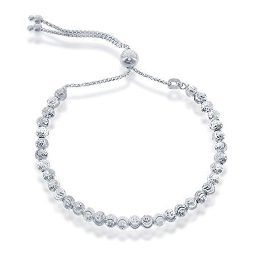 Beaux Bijoux 925 Sterling Silver Diamond-Cut MoonBeads Italian Adjustable Bolo Bracelet