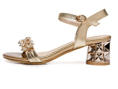 Compras 40 Xie Cómodo 5cm Sandalias diario Para Fiesta Gold Ir 35 Mujer diamantes 34 simple 37 Imitación Negro De 6z604nW