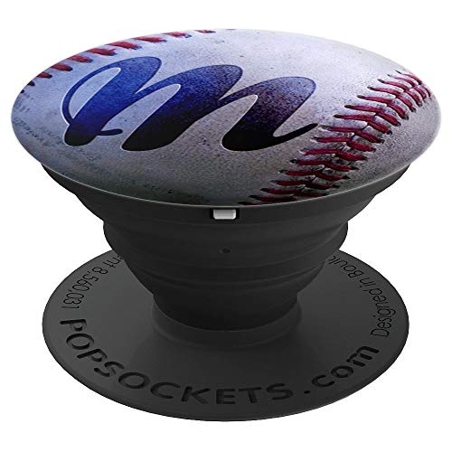 (Letter M  Baseball Carved Monogram Initial - PopSockets Grip and Stand for Phones and Tablets)