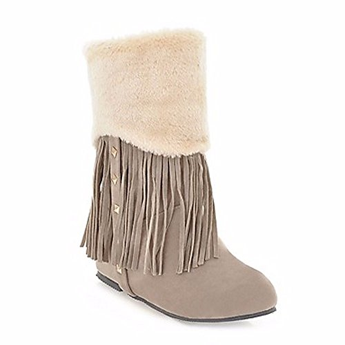 Femmes Almond Bottes Un Bottes Amande ZHUDJ S Mid Bout Confort Calf Bottes Neige Rond Brun Pour Tassel Chaussures Rivet D'Hiver Pour qtTnHxERn