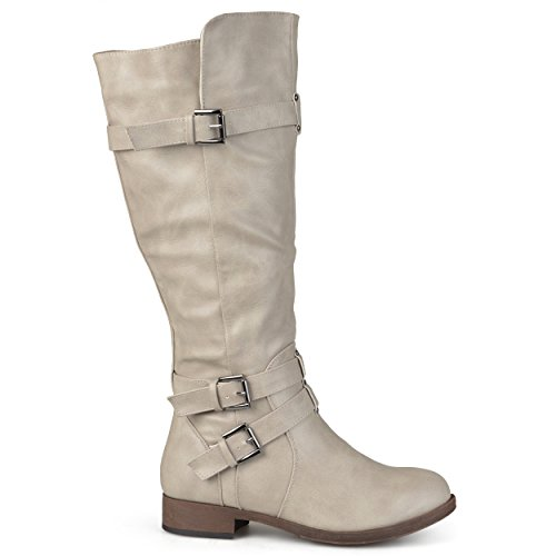 Brinley Co Women's Buffalo Knee High Boot, Taupe, 8 Wide/Wide Shaft US