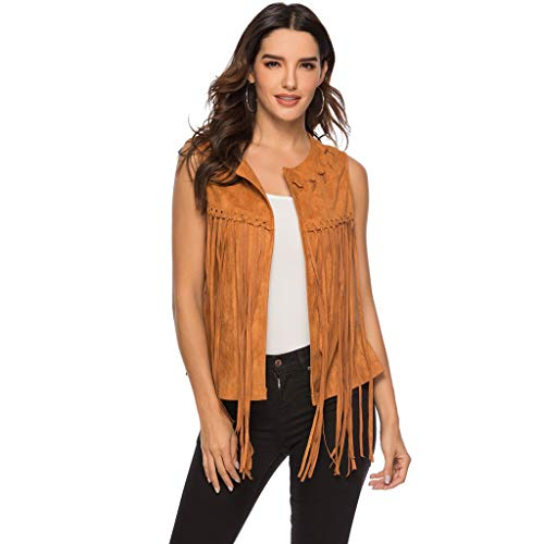 Nihewoo Women Fringe Vest Suede Tasseled Sleeveless Collarless Vest Waistcoat Tassel Shirts Fold Tops Tank Top Brown ()