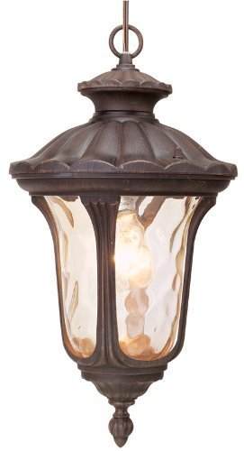 Livex Lighting 7654-58 Oxford 1 Light Imperial Bronze Cast Aluminum Hanging Lantern with Light Amber Water Glass by Livex Lighting