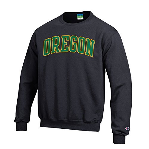 Oregon Ducks Champion Black Powerblend Fleece Crew Pullover Sweatshirt (M)