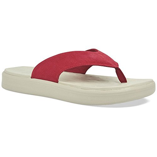 SoftScience Skiff Comfort Flip Flop,Red Cotton Canvas,US 4 E
