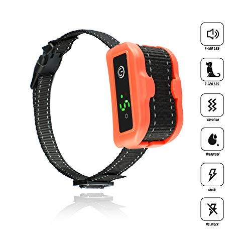 Hecmoks [Newest 2019] Anti Bark Collar for Small, Medium, Large Dogs-5Adjustable Sensitivity and Intensity Levels-Dual Anti-Barking Modes-Rechargeable/Rainproof/Reflective-No Barking Dog Shock - Collar Dog Automatic Bark