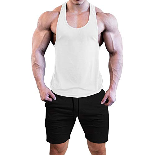 COOFANDY Men's Tracksuit Quick Dry Sportwear 2 Piece Gym Tank Top and Workout Shorts Set Gym Jogging Running Tracksuits